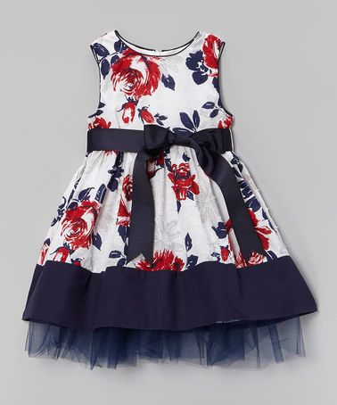 Another great find on #zulily! Blue & Red Floral A-Line Dress - Infant, Toddler & Girls #zulilyfinds