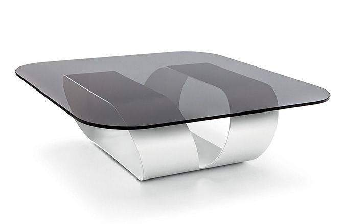 Ring coffee table with smoked glass top and white base #design #elegance #charm