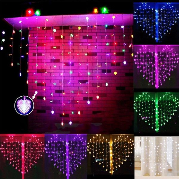 128 LED Heart-Shape Fairy String Curtain Light Valentine's Day Wedding Christmas Decor  Description: Your holiday decorating will be made so much easier this year by our fairy Lights. Our fairy lights look beautiful in window at Christmas or wonderful for garden party wedding birthday party and BBQ in evenings. Specifications: LED Color: Warm White White Red Pink Green Blue Purple Multicolor Available LED bulbs: Total 128 Leds (94 LEDs and with 34 Hearts) String Color: Clear Length: 3M…