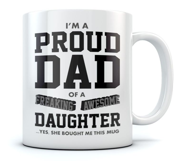 Proud Dad Of A Freaking Awesome Daughter Funny Gift for Dads Coffee Mug Christmas Gift for dad, Father's Day Gift for Dad From Daughter, Birthday Gift for Men Novelty Ceramic Mug 11 Oz. White * Remarkable product available now. : Coffee Mugs