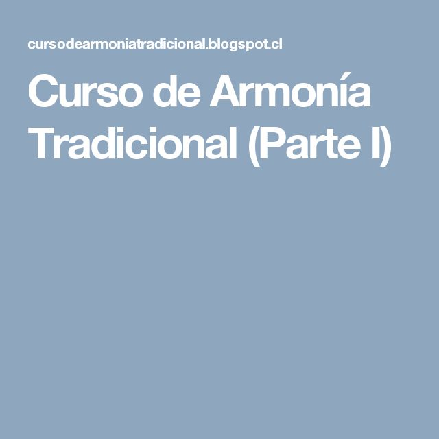 Curso de Armonía Tradicional (Parte I)