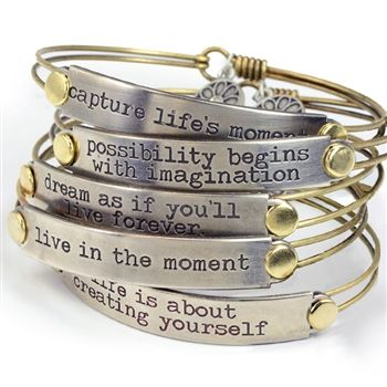 Inspirational Message Bar Bracelets Own or gift this remarkable piece of jewelry. Inspirational message bracelets transmit good vibes and inspire positive energy.