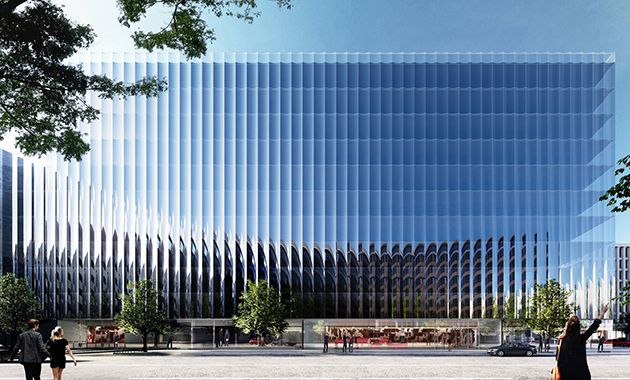 Dubbed 2050 M Street, the building's glazed curtain facade features a series of 900 insulated-glass panels with a slight curve that is achieved by using a heat roller tempering process.<br /> <br />