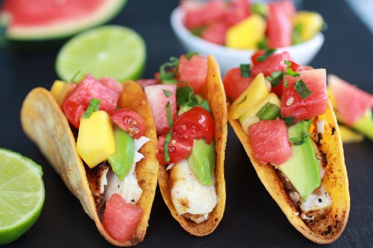 Coconut Lime Mahi Mahi Tacos with Tequila Soaked Watermelon Salsa | halfbakedharvest.com ~T~ These sound like a perfect summer party meal.