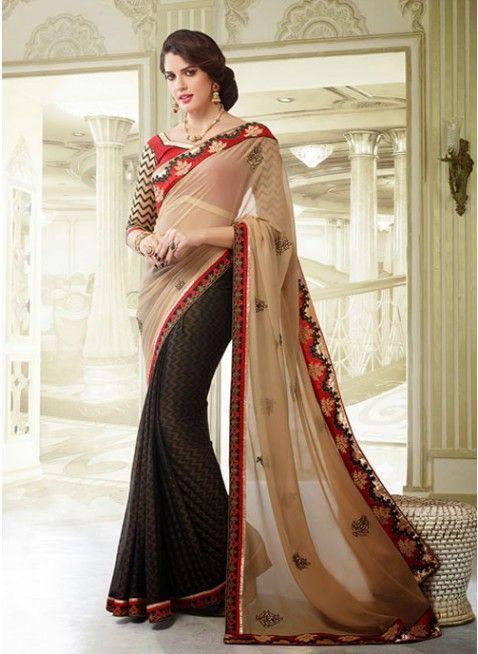 Butta Beige & Black Embroidered #Saree #designersarees #clothing #womenswear #womenapparel #ethnicwear