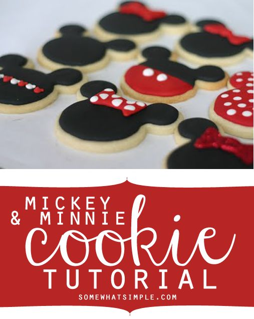 How to make mickey + minnie mouse cookies - love how simple these are!