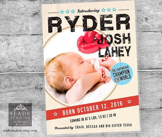 Birth announcement Vintage Boxing themed photo by SladeStudios