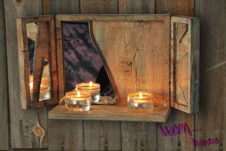 Bougeoir mural bois massif et miroir brisé : Luminaires par w-a-m