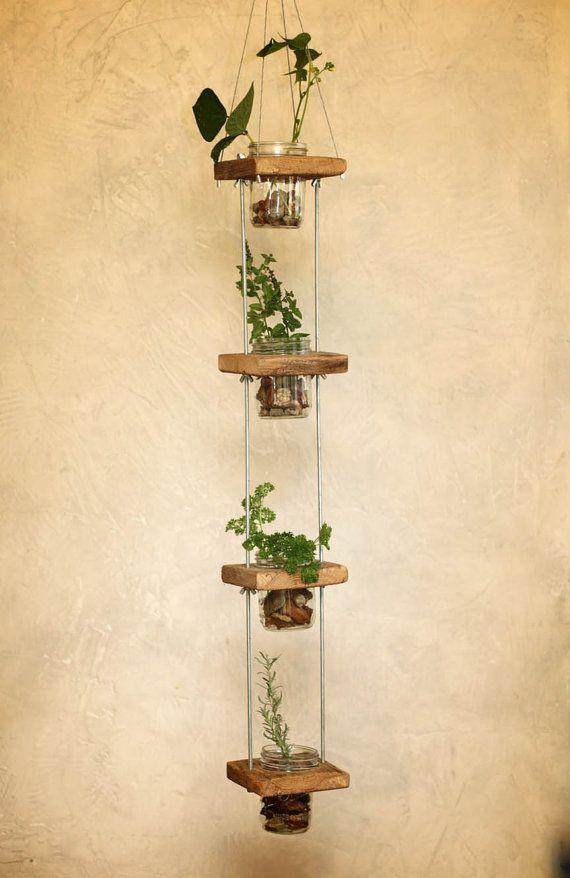 vertical mason jar plant stand barn wood by. Black Bedroom Furniture Sets. Home Design Ideas