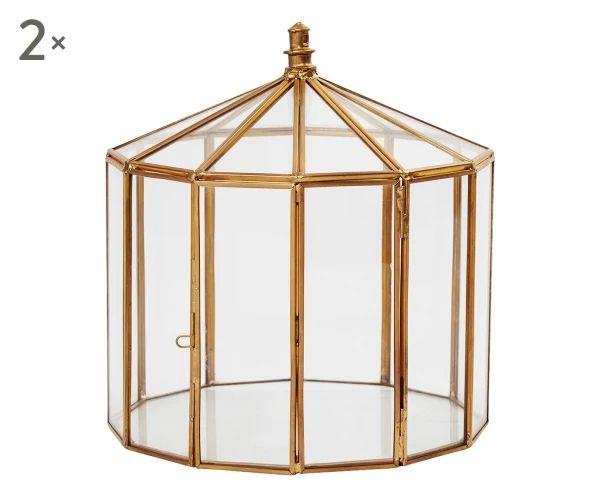 Set di 2 contenitori in ferro e vetro Samira oro anticato