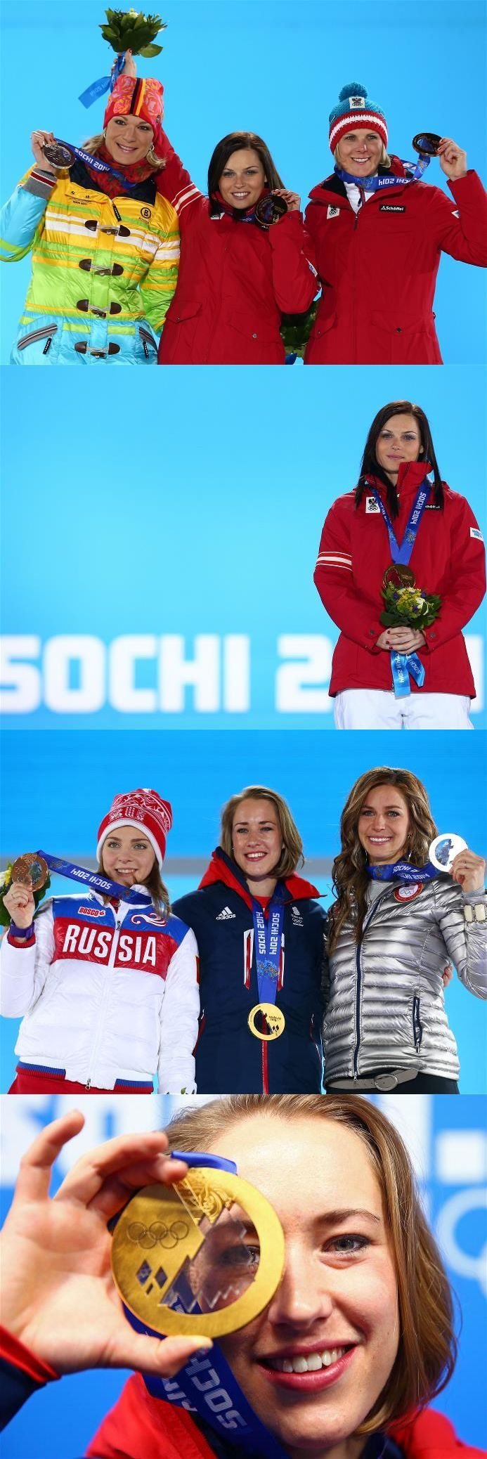 Sochi 2014 Day 9 / Medal Ceremony/ Silver medalist Maria Hoefl-Riesch of Germany, gold medalist Anna Fenninger of Austria and bronze medalist Nicole Hosp of Austria on the podium during the medal ceremony for the Alpine Skiing Ladies Super-G, Bronze medalist Elena Nikitina (L) of Russia, gold medalist Lizzy Yarnold (C) of Great Britain and Silver medalist Noelle Pikus-Pace (R) of the United States celebrates on the podium during the medal ceremony for the Women's Skelton