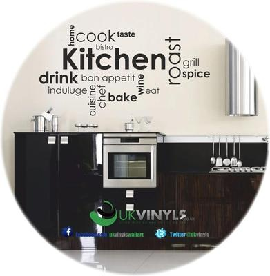 Vinyl Wall Art Stickers Decal Bistro Bon Appetit WineKitchen Dining Room