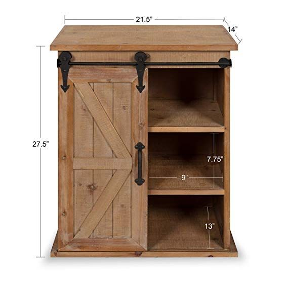 Amazon Com Kate And Laurel Cates Wooden Freestanding Storage Cabinet Side Accent Table Sliding Barn Door Rust Wood End Tables Farmhouse End Tables End Tables