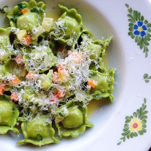 2013  Ravioli di Manzo Bollito: meat-filled Pasta with Sofrito, Scallions, and…