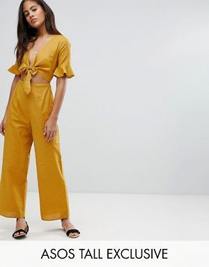 a879cbba317 ASOS DESIGN Tall tea jumpsuit with cut out and tie detail in linen ...