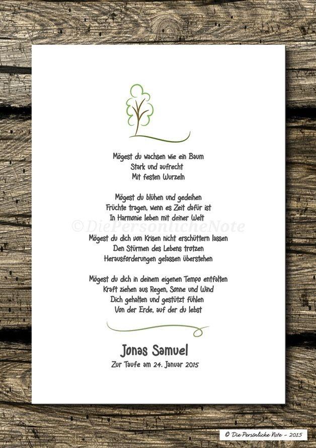 Gastgeschenke - Druck/Print: Segenswunsch/Vers für Kinder - Baum - ein Designerstück von DiePersoenlicheNote bei DaWanda