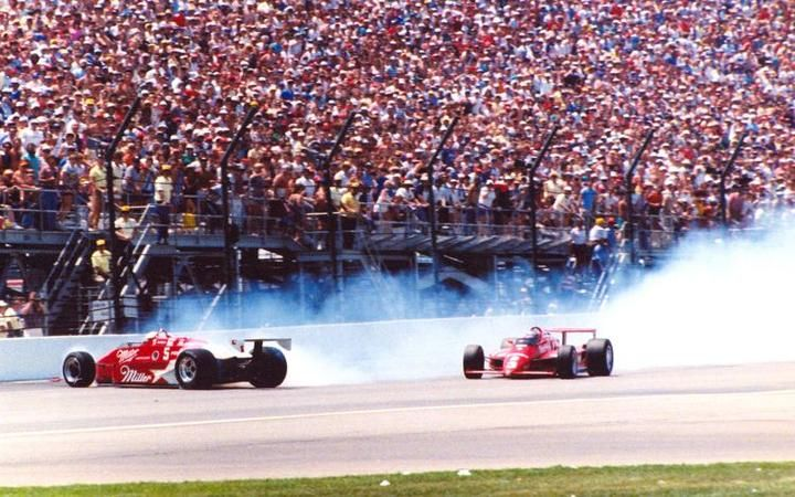 """Danny Sullivan's 1985 """"Spin and Win"""". Indianapolis 500."""