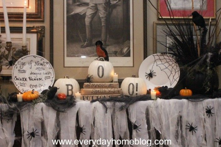 Halloween Mantel-from The Everyday Home like the cheese cloth draped with spiders on it.