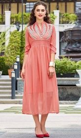 Peach Color Embroidered Georgette Tunic #indiankurtisonline#indiantunicandpants Brighten your day dressed up in this peach color embroidered georgette tunic. The lace and resham work appears to be chic and ideal for any get together. USD$ 61(Around £ 42 & Euro 46)