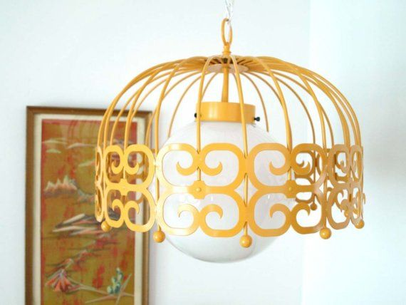 mid century lighting fixture in awesome yellow