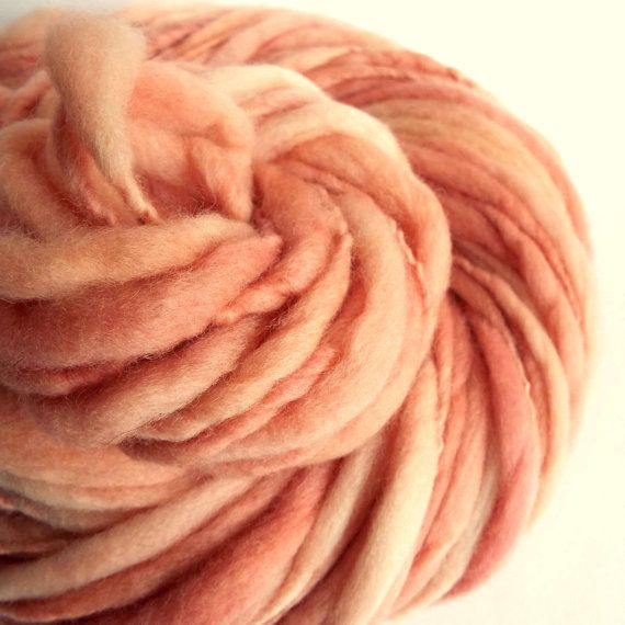 Perfect Ballet-PINK thick and thin knitting yarn chunky merino by thefibretree