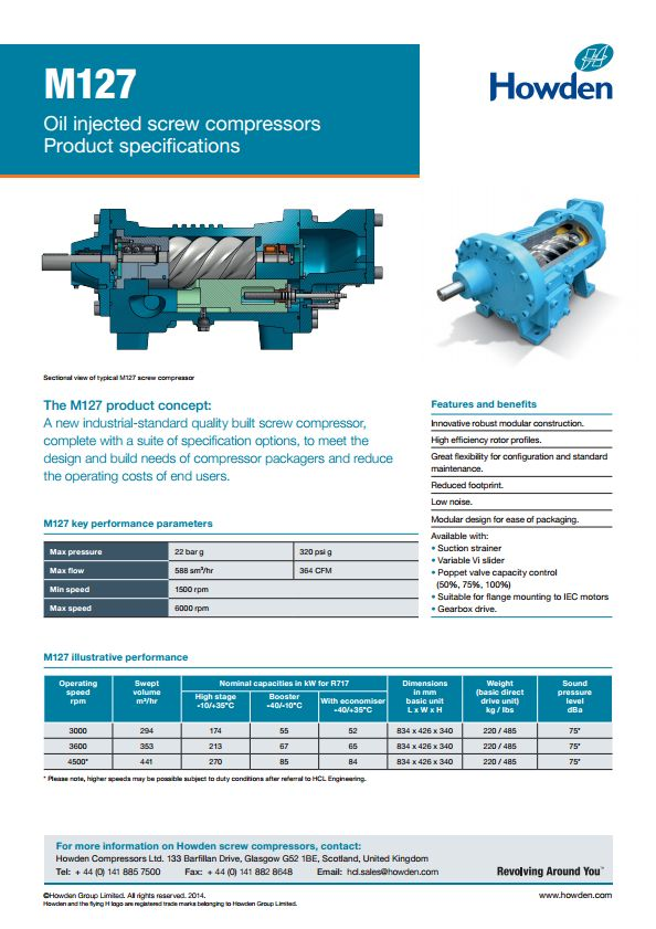 M127 Product Specification Sheet