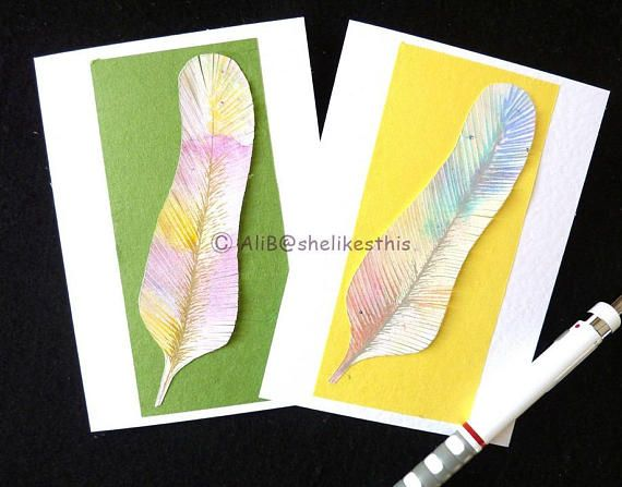 Original Handmade Colourful blank cards feathers greeting