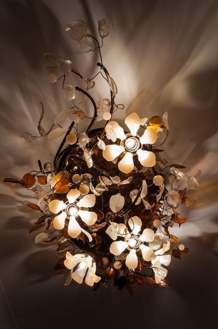 Flower ceiling lamp, chandalier, handmade copper light