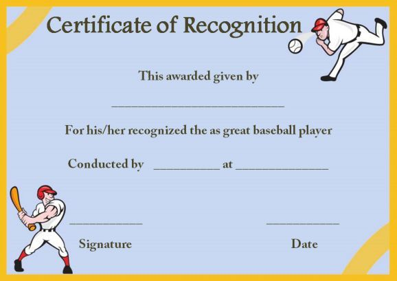 certificate of recognition template baseball Certificate of