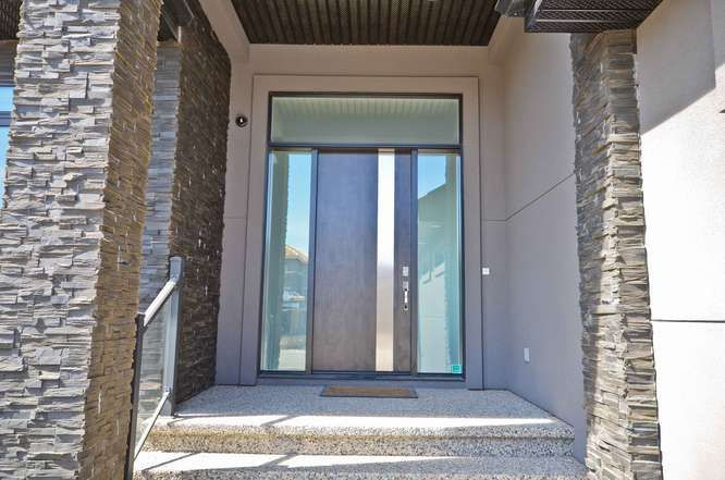 Maple Solid Core Front Door with Chrome Insert