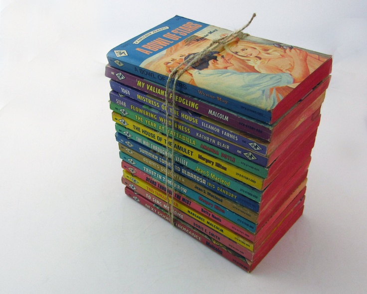 Nothing says vacation like a stack of old romance novels! #CDNGetaway! 1970's Harlequin Romance Bundle - Colorful Funky Vintage Paperback Collection.