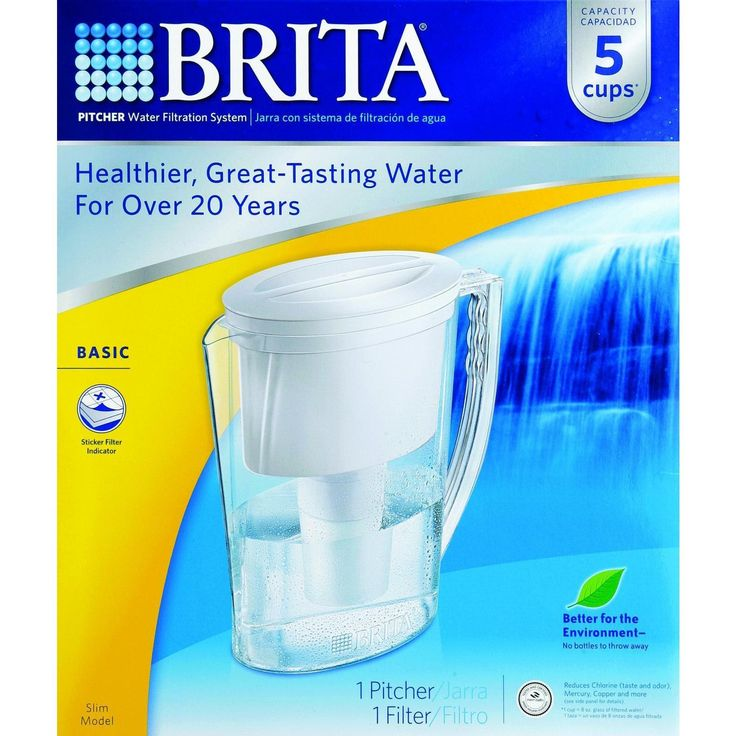 """Brita Pitcher - Slim - 1 Pitcher - Our smallest pitcher has a compact design and can be stored in narrow spaces, including most refrigerator doors. It's Always BPA-free, and perfect for personal use at home, in the dorm, or at work. our Brita Pitcher water filter helps filter out and reduce the amount of Chlorine, Copper, Cadmium, Lead and Mercury-all of which may be found in tap water. Fits in most refrigerators doorsHeight: 10.50""""Width: 4.19""""Length: ?8.97""""Weight: 1.66 lb. Organic: NA Glu"""