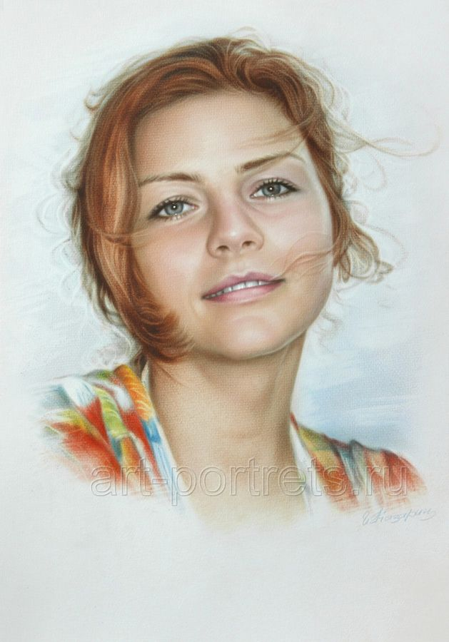 Simple portrait of a beautiful girl by Dry Brush by Drawing-Portraits.deviantart.com on @deviantART
