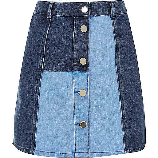 Blue patchwork denim skirt - denim skirts - skirts - women