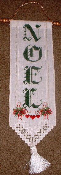 Noel - Hardanger and Cross-Stitch Christmas Banner - Hand Stitched. $30.00, via Etsy.