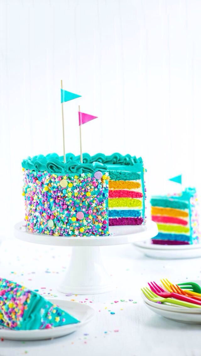 Colorful cake with turquoise blue frosting...