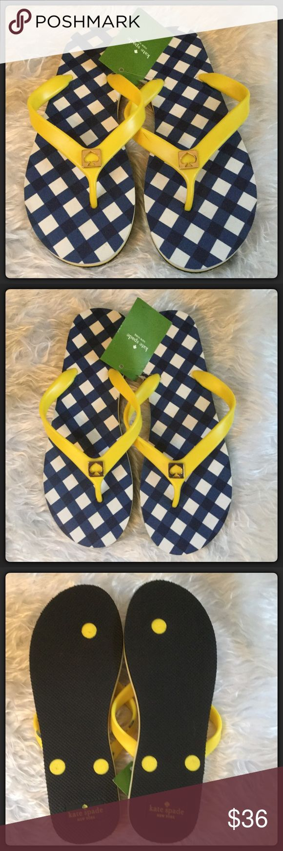 🆕Kate Spade Flip Flops Super cute and fun yellow with blue flip flops by Kate Spade. Size 7. New with tag. Medium yellow color with a fun blue and white design. kate spade Shoes Sandals