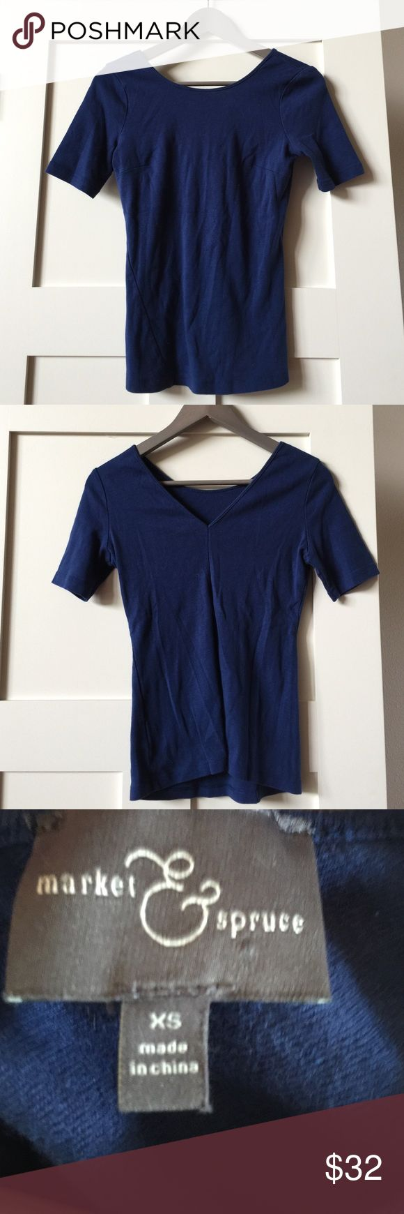 Market & Spruce a Stitch Fix brand SzXS top Market & Spruce a Stitch Fix brand SzXS top.  Lots of detail.  Has a beautiful v cut in the upper back.  Would look cute with skinny jeans and heels or flats.  Comes from free and smoke free home. Market and Spruce a Stitch Fix brand Tops Tees - Short Sleeve