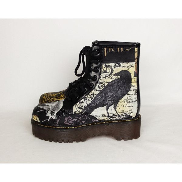 Gothic boots, custom boots, goth shoes, steampunk shoes, crow boots,... (€54) ❤ liked on Polyvore featuring shoes, boots, punk rock shoes, high heeled footwear, wedge shoes, wedge heel boots and punk boots