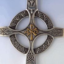 Celtic cross descending dove