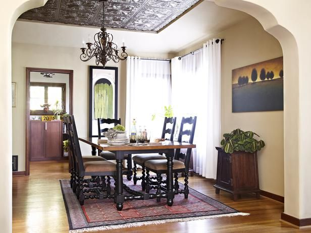 faux tin ceiling tiles spanish style bronze colored in a dining room