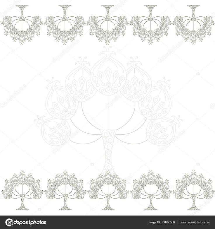 Цветочный фон симметрично с стилизованные этнические серые деревья на белый, фондовый вектор Иллюстрация — стоковая иллюстрация #138756566
