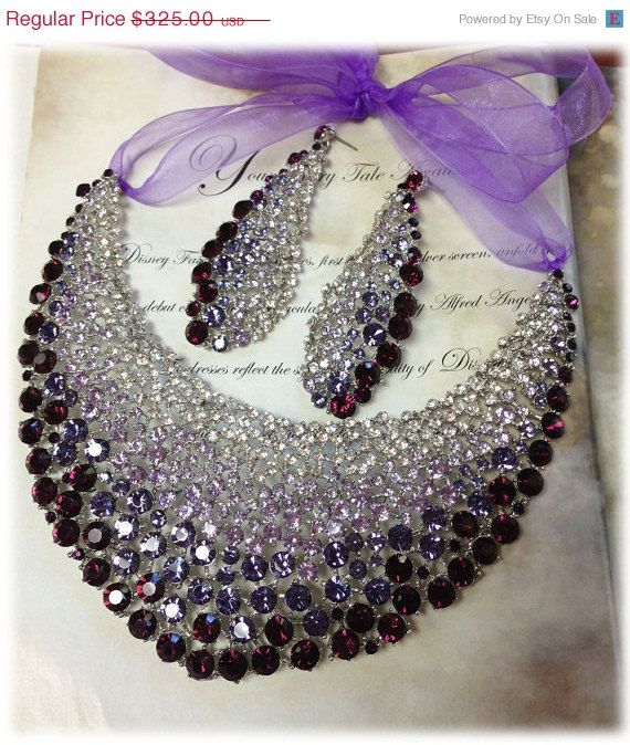 Bridal jewelry set , OOAK  bib necklace earrings , Modern Contemporary purple rhinestone necklace statement, crystal jewelry set