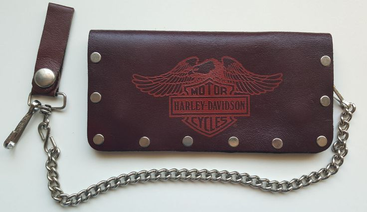 Vintage Harley Davidson Wallet Bifold brown leather Eagle B&S with chain