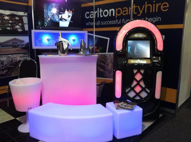 LED light bench, karaoke machine and bar #colourful