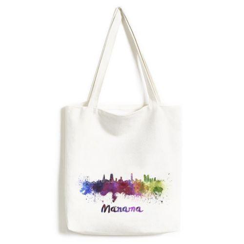 Manama Bahrain Country City Watercolor Illustration Fashionable Design High Quality Canvas Bag Environmentally Tote Large Gift Capacity Shopping Bags #Canvasbag #Manama #Messengerbags #Bahrain #Handbag #Country #Shoppingbag #City #Totebag #Watercolor #Shoulderbags #Illustration #Womenbags #LargeCapacity #Fashion