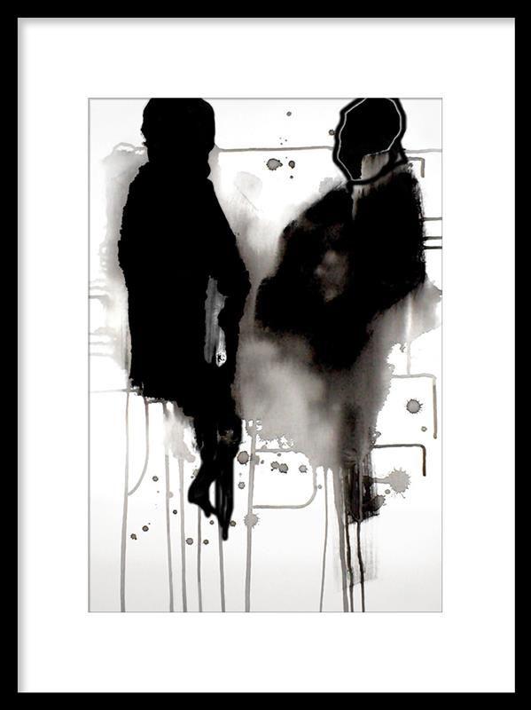 Plansch med konsttryck av Late night conversation av Tina Eriksen, Danmark. Posters och prints med konst och konstmotiv. Svartvita tavlor och affischer. Denna poster är fin att sätta i tavelram.