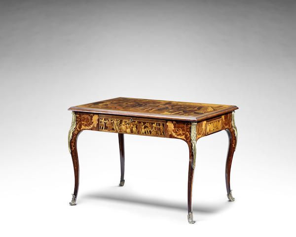 A early 19th century marquetry and pen-work centre tablethe Italian top by Francesco Abbiati and dated 1806, the base stamped twice E.H.B for Edward Holmes Baldock