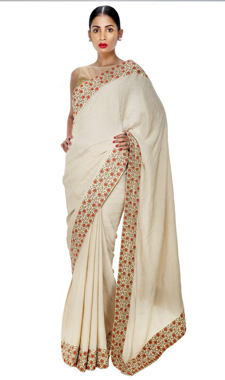- SUNDAY. BEAUTY AT BRUNCH. - Crushed Georgette Off-White Saree  with Red Floral Embroidered Border.  Now on SALE at 25% off. Shop Now!  #ThreadTurner #DesignerSaree