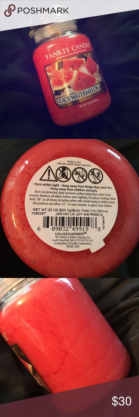 Juicy Watermelon Yankee Candle BRAND NEW 2016 Yankee Candle in the scent Juicy Watermelon 🍉💦 - Large Jar Candle weighing 22 ounces. Offers negotiable-DO NOT TROLL ON MY PRICE YOU WILL BE REPORTED AND BLOCKED Yankee Candle Other